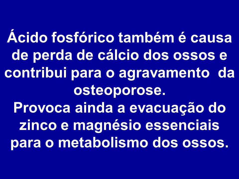 Ácido fosfórico também é causa de perda de cálcio dos ossos e contribui para o agravamento da osteoporose.