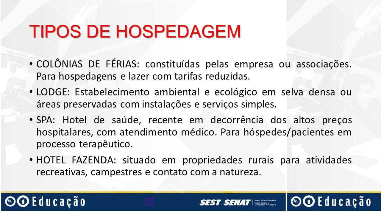 COLÔNIAS DE FÉRIAS: constituídas pelas empresa ou associações. Para hospedagens e lazer com tarifas reduzidas. LODGE: Estabelecimento ambiental e ecol