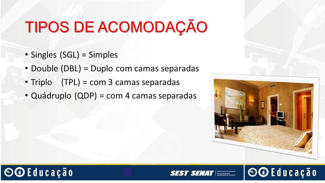 TIPOS DE ACOMODAÇÃO Singles (SGL) = Simples Double (DBL) = Duplo com camas separadas Triplo (TPL) = com 3 camas separadas Quádruplo (QDP) = com 4 cama