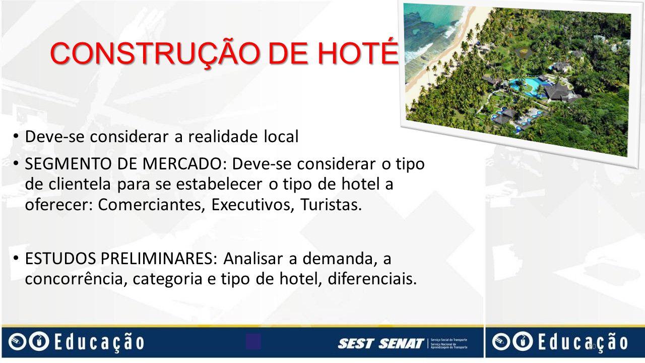 CONSTRUÇÃO DE HOTÉIS Deve-se considerar a realidade local SEGMENTO DE MERCADO: Deve-se considerar o tipo de clientela para se estabelecer o tipo de ho