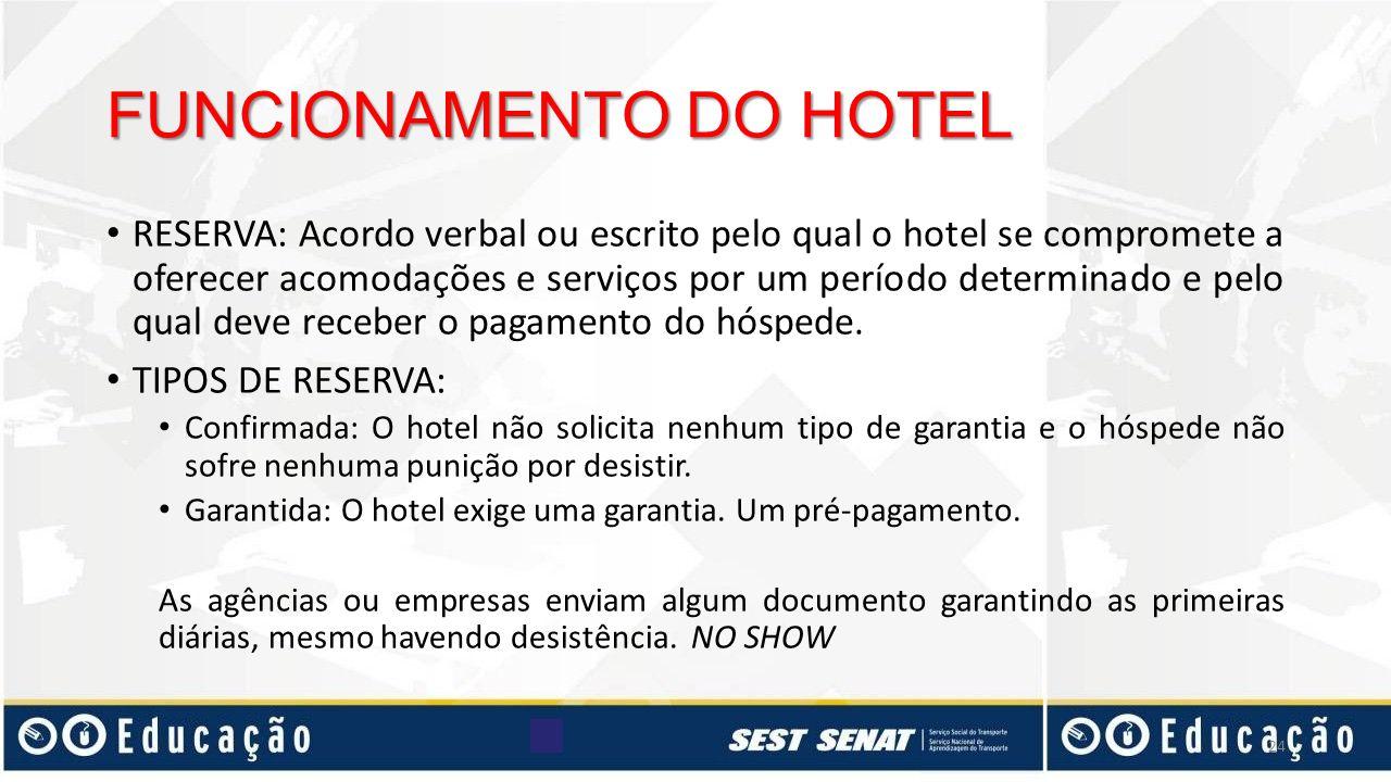 RESERVA: Acordo verbal ou escrito pelo qual o hotel se compromete a oferecer acomodações e serviços por um período determinado e pelo qual deve recebe