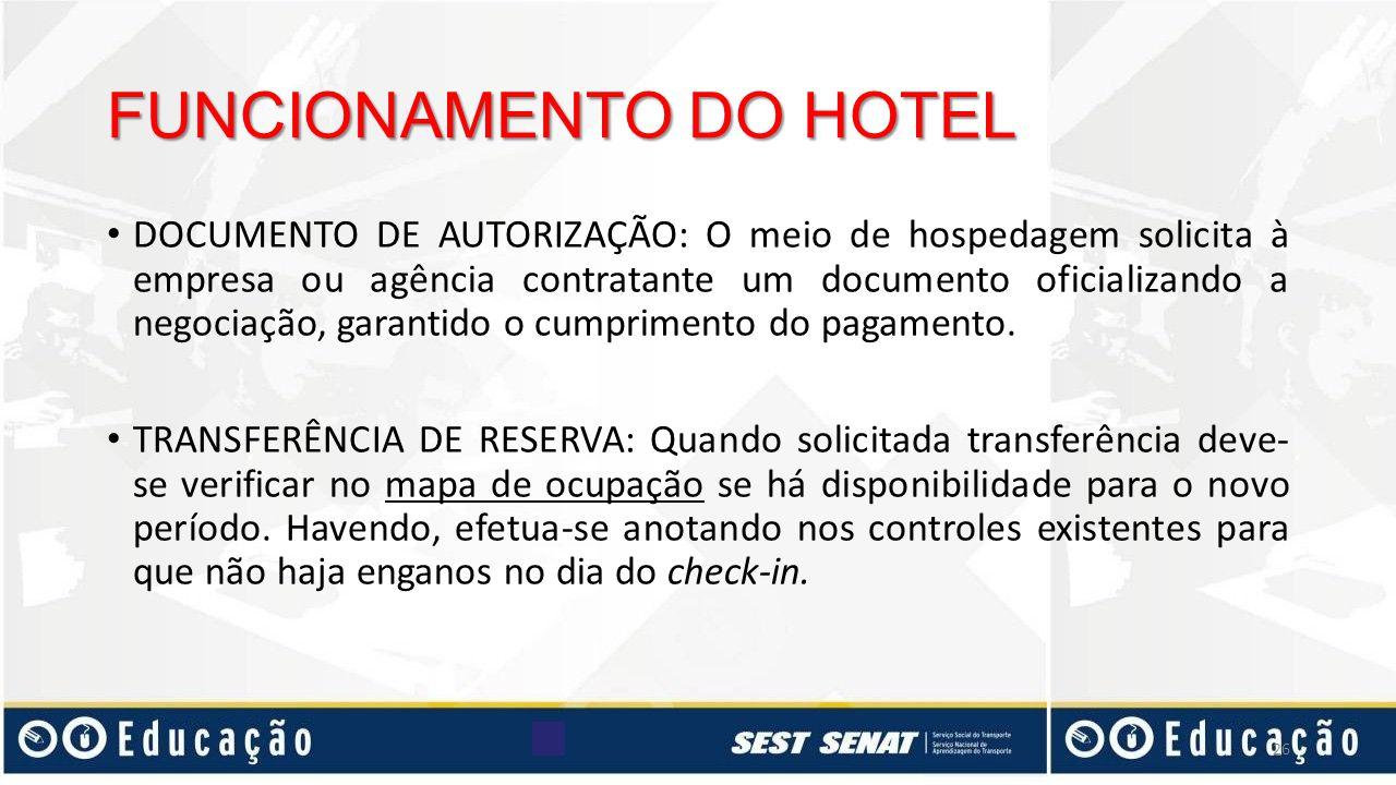 FUNCIONAMENTO DO HOTEL DOCUMENTO DE AUTORIZAÇÃO: O meio de hospedagem solicita à empresa ou agência contratante um documento oficializando a negociaçã