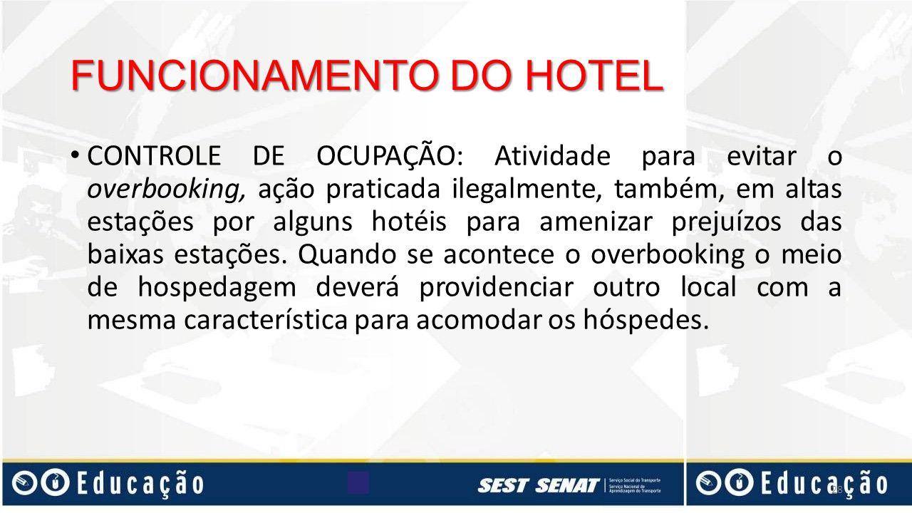 FUNCIONAMENTO DO HOTEL CONTROLE DE OCUPAÇÃO: Atividade para evitar o overbooking, ação praticada ilegalmente, também, em altas estações por alguns hot