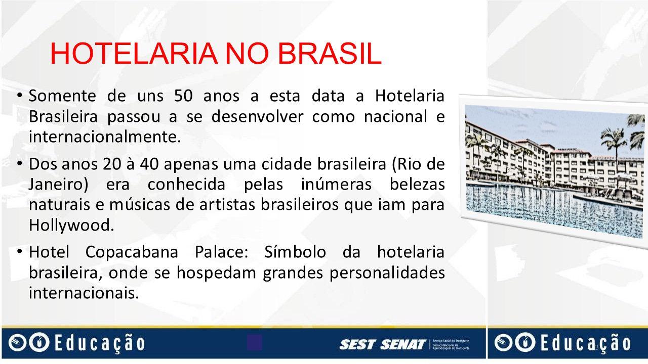 HOTELARIA NO BRASIL Somente de uns 50 anos a esta data a Hotelaria Brasileira passou a se desenvolver como nacional e internacionalmente. Dos anos 20