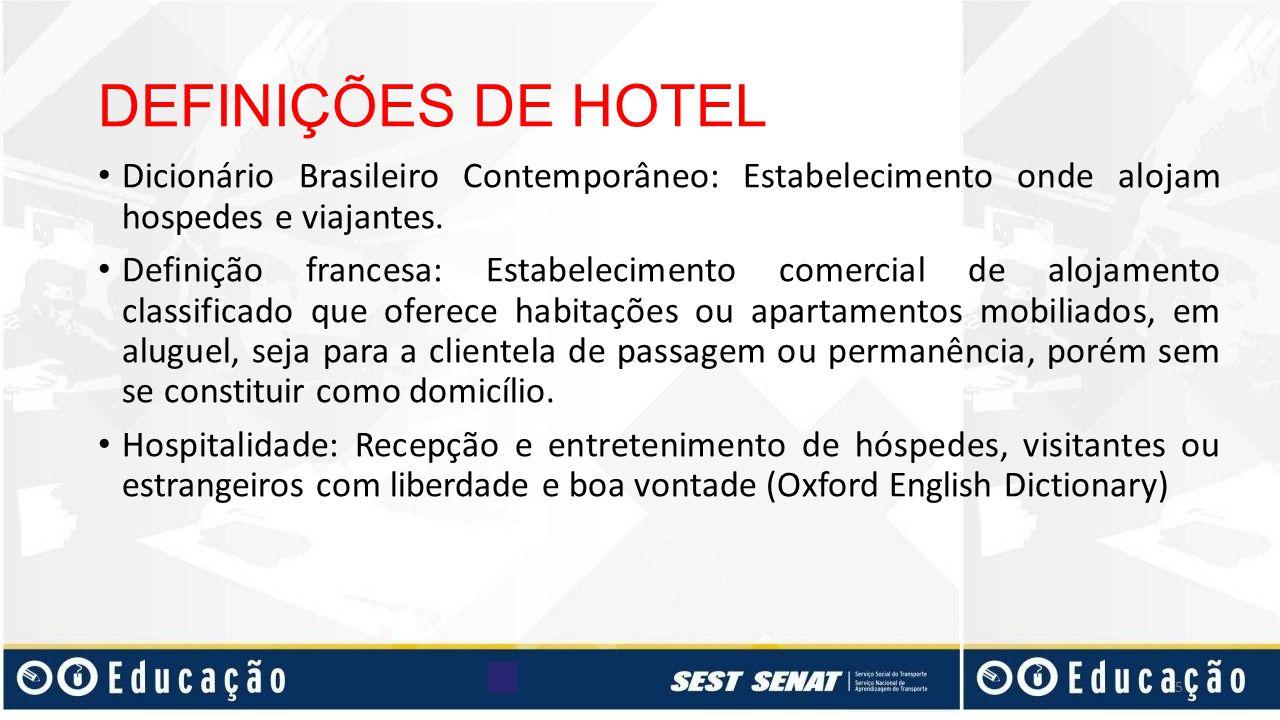 DEFINIÇÕES DE HOTEL Dicionário Brasileiro Contemporâneo: Estabelecimento onde alojam hospedes e viajantes. Definição francesa: Estabelecimento comerci