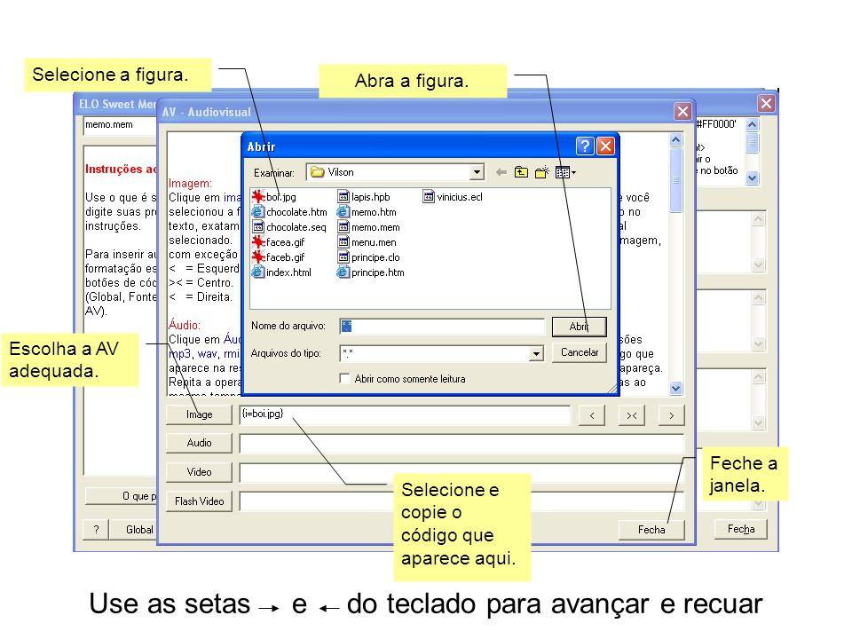 Use as setas e do teclado para avançar e recuar Cole o código da figura (neste caso, substituindo o texto).