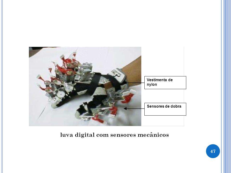 47 Vestimenta de nylon Sensores de dobra luva digital com sensores mecânicos