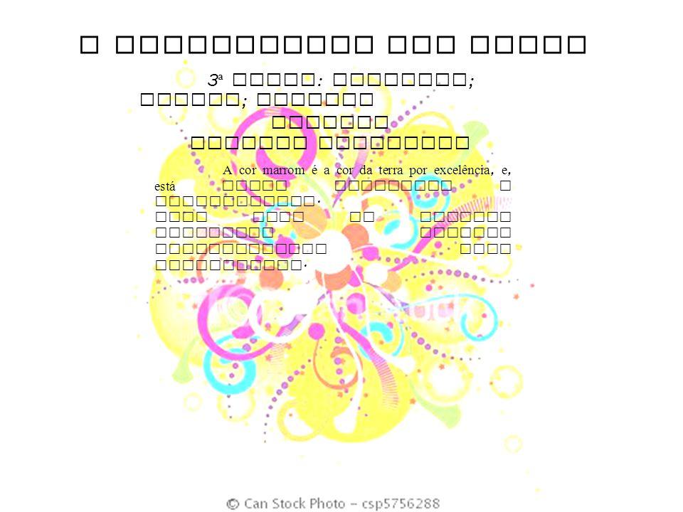 O SIGNIFICADO DAS CORES 3 ª DUPLA : Castanho ; marrom ; amarelo FUTEBOL CANDIDO PORTINARI A cor marrom é a cor da terra por excelência, e, est á ainda