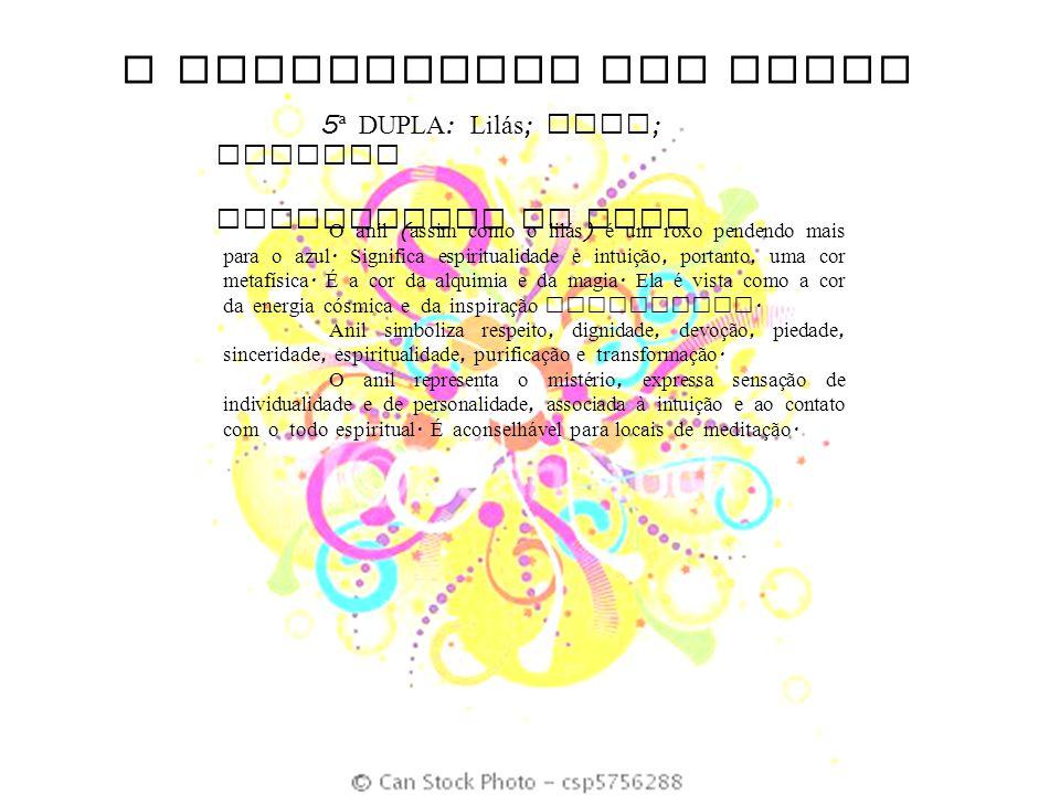 O SIGNIFICADO DAS CORES 5 ª DUPLA : Lil á s ; Anil ; Violeta SIGNIFICADO DO ANIL O anil ( assim como o lil á s ) é um roxo pendendo mais para o azul.