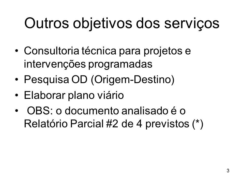 3 Outros objetivos dos serviços Consultoria técnica para projetos e intervenções programadas Pesquisa OD (Origem-Destino) Elaborar plano viário OBS: o documento analisado é o Relatório Parcial #2 de 4 previstos (*)
