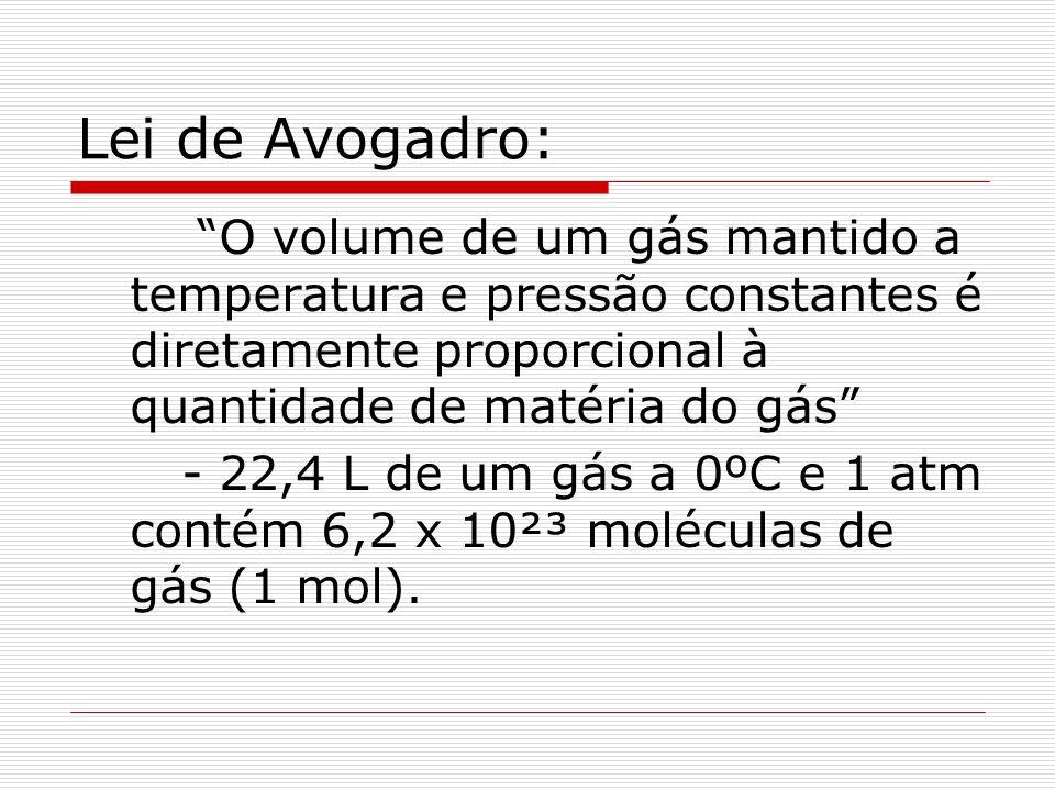 Lei de Avogadro: O volume de um gás mantido a temperatura e pressão constantes é diretamente proporcional à quantidade de matéria do gás - 22,4 L de u