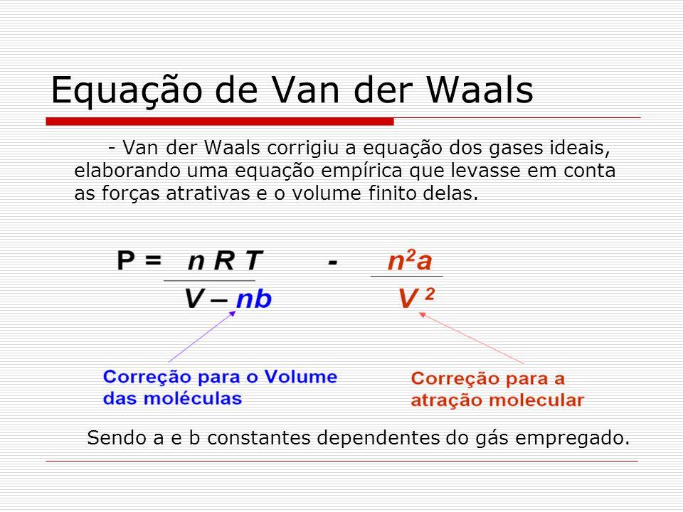 Equação de Van der Waals - Van der Waals corrigiu a equação dos gases ideais, elaborando uma equação empírica que levasse em conta as forças atrativas