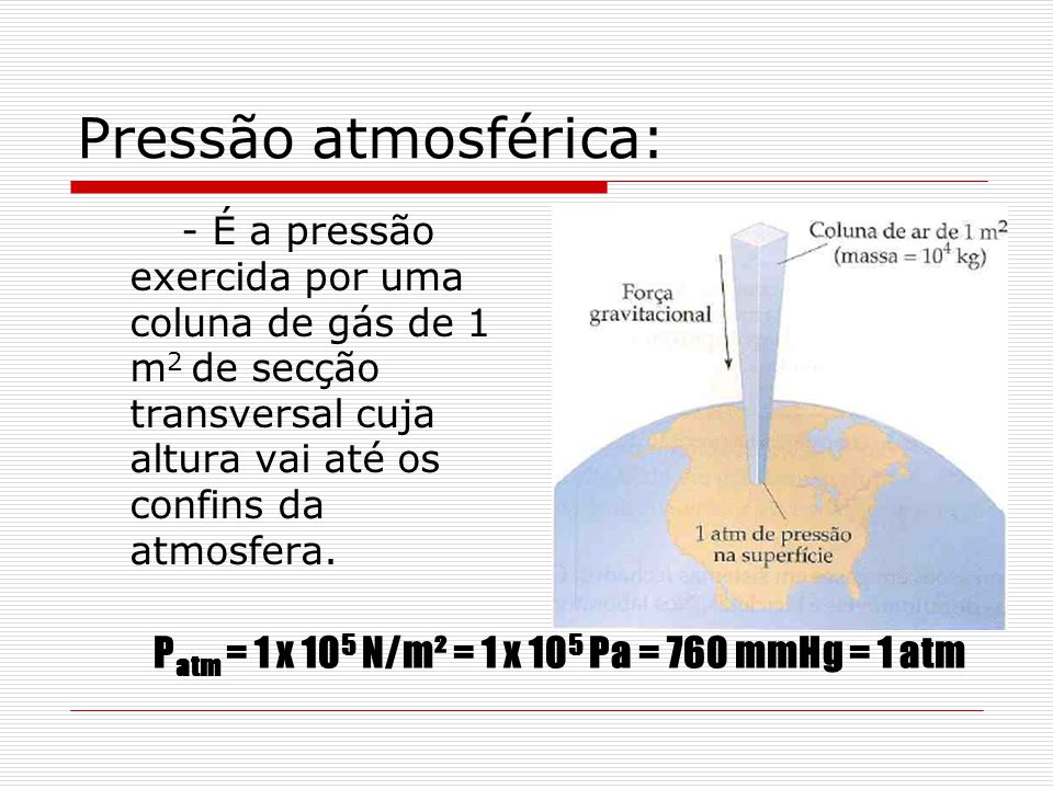 Pressão atmosférica: - É a pressão exercida por uma coluna de gás de 1 m 2 de secção transversal cuja altura vai até os confins da atmosfera. P atm =