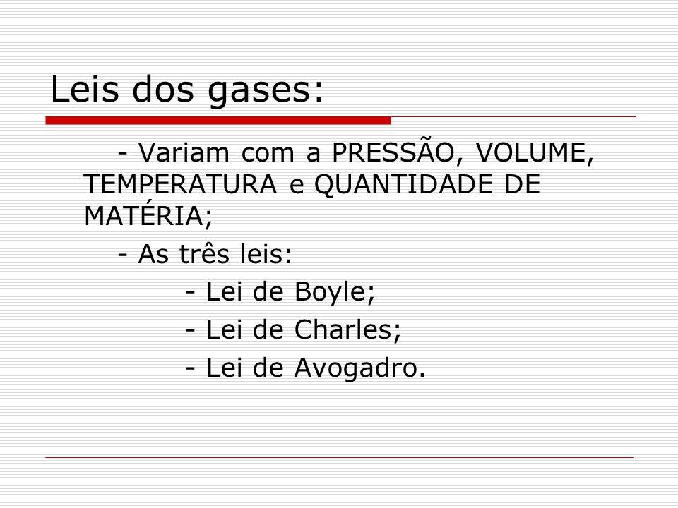 Leis dos gases: - Variam com a PRESSÃO, VOLUME, TEMPERATURA e QUANTIDADE DE MATÉRIA; - As três leis: - Lei de Boyle; - Lei de Charles; - Lei de Avogad