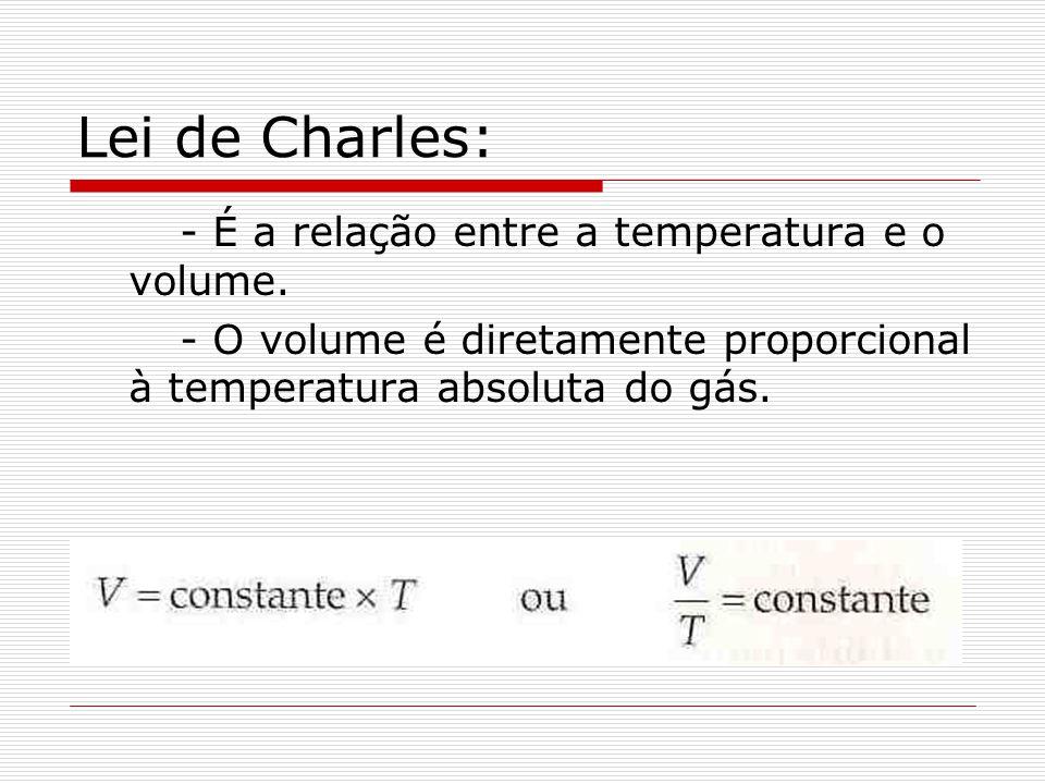 Lei de Charles: - É a relação entre a temperatura e o volume. - O volume é diretamente proporcional à temperatura absoluta do gás.