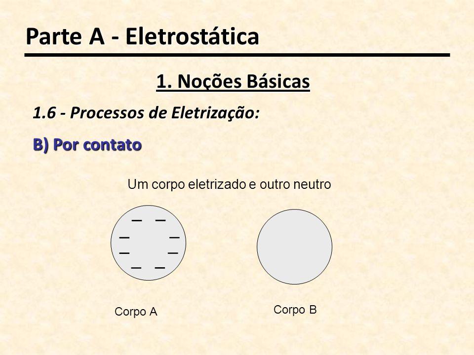 Um corpo eletrizado e outro neutro – – – – – – – – Corpo A Corpo B B) Por contato Parte A - Eletrostática 1. Noções Básicas 1.6 - Processos de Eletriz