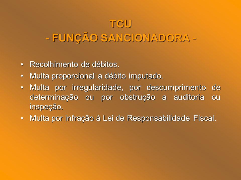 TCU - FUNÇÃO SANCIONADORA - Recolhimento de débitos.Recolhimento de débitos. Multa proporcional a débito imputado.Multa proporcional a débito imputado