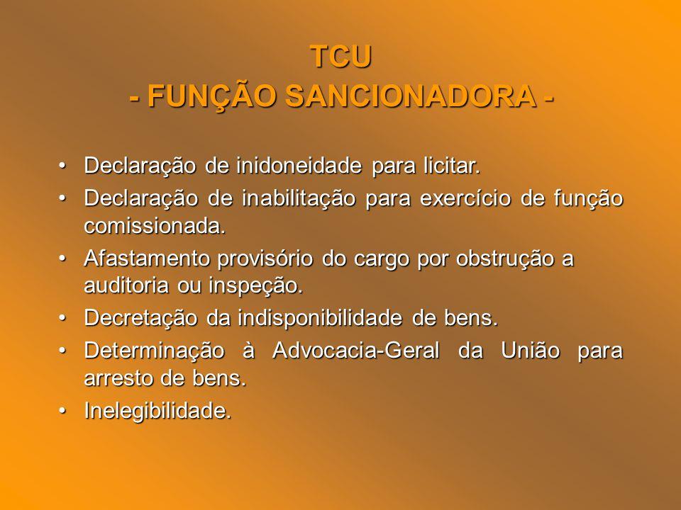TCU - FUNÇÃO SANCIONADORA - Declaração de inidoneidade para licitar.Declaração de inidoneidade para licitar. Declaração de inabilitação para exercício