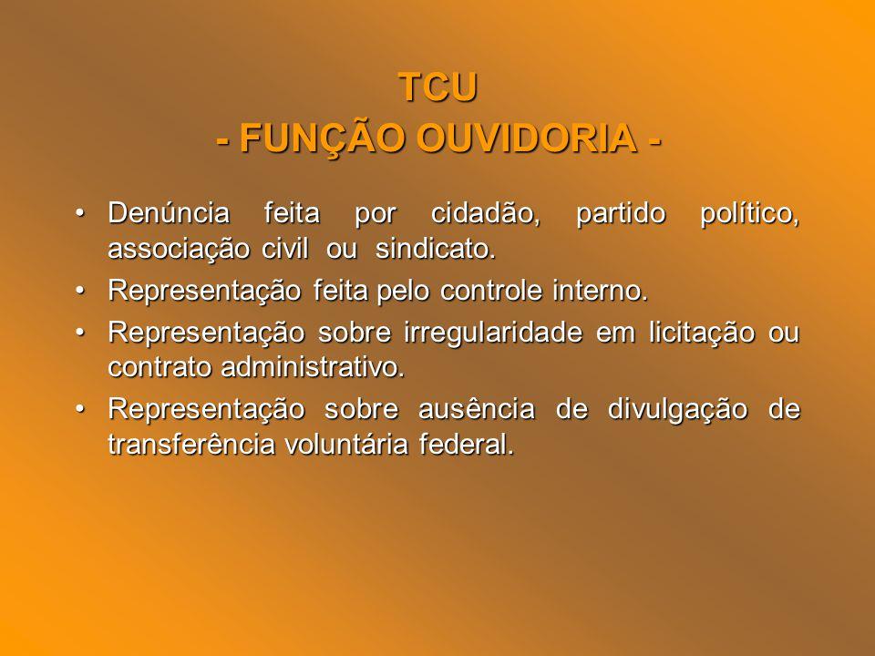 TCU - FUNÇÃO OUVIDORIA - Denúncia feita por cidadão, partido político, associação civil ou sindicato.Denúncia feita por cidadão, partido político, ass