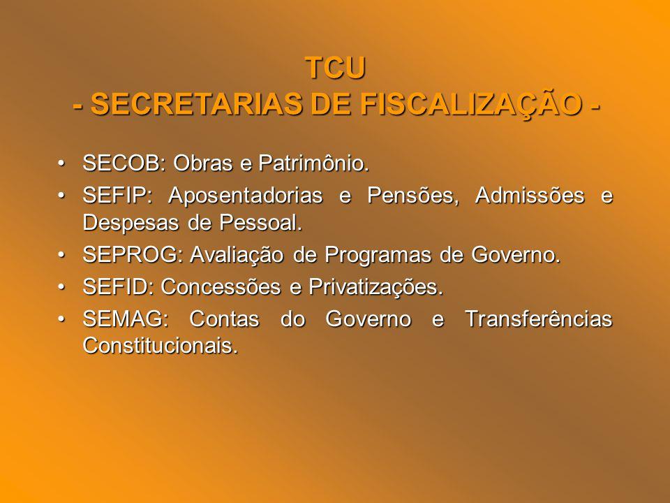 TCU - SECRETARIAS DE FISCALIZAÇÃO - SECOB: Obras e Patrimônio.SECOB: Obras e Patrimônio. SEFIP: Aposentadorias e Pensões, Admissões e Despesas de Pess