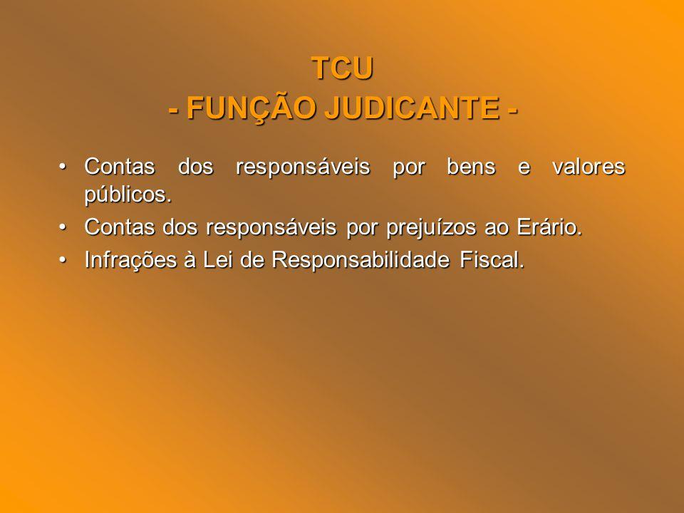 TCU - FUNÇÃO JUDICANTE - Contas dos responsáveis por bens e valores públicos.Contas dos responsáveis por bens e valores públicos. Contas dos responsáv