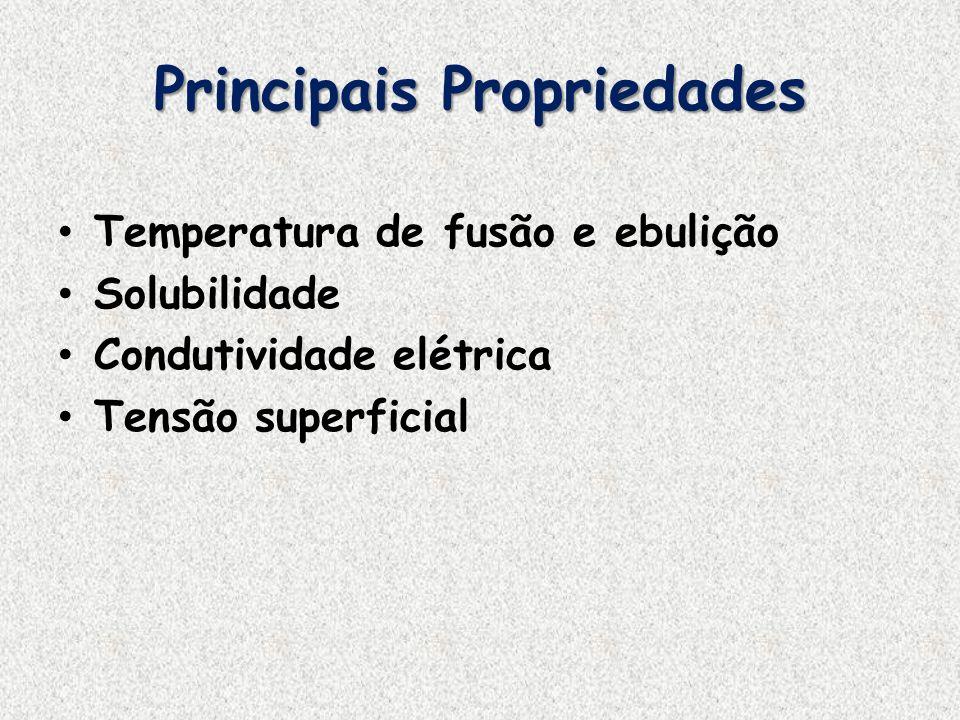 Principais Propriedades Temperatura de fusão e ebulição Solubilidade Condutividade elétrica Tensão superficial