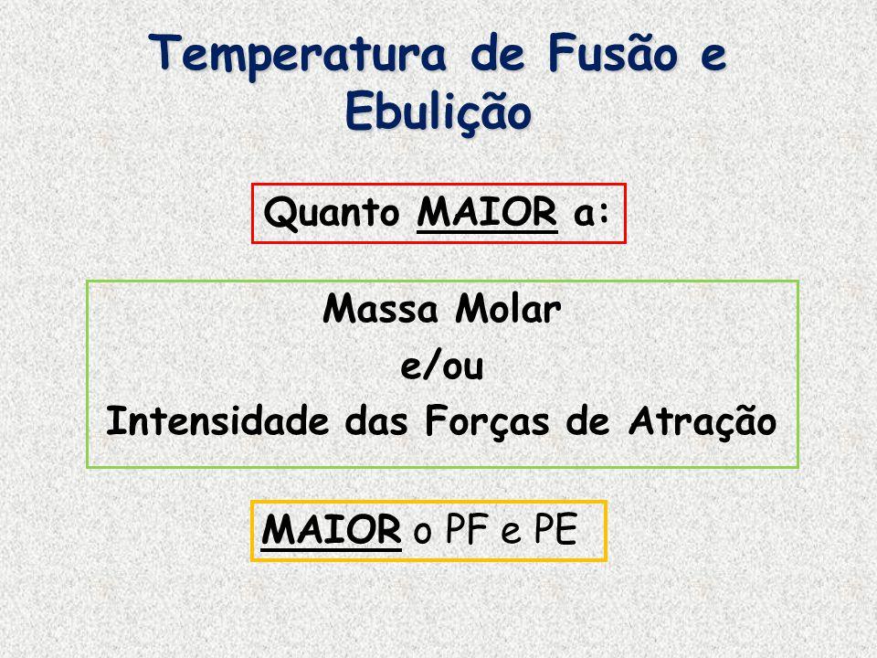 Temperatura de Fusão e Ebulição SubstânciaFeNaClCH 3 CH 2 OH PolaridadeApolarPolar LigaçãoMetálicaIônicaCovalente Massa Molar55,858,546 PF ( o C)1811801-114 PE ( o C)3134146578