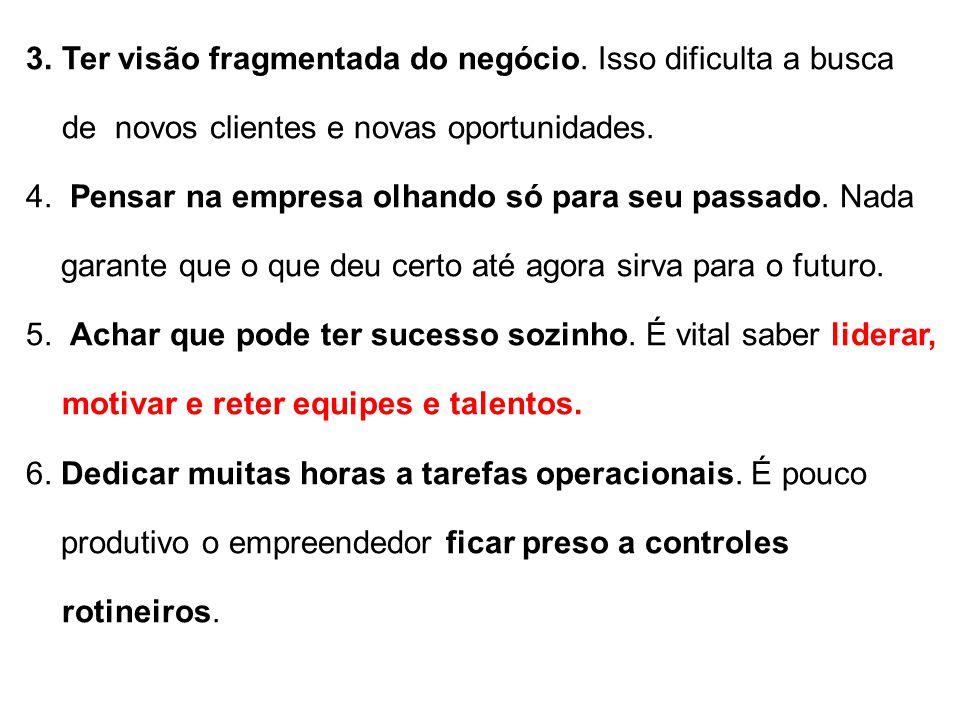 3.Ter visão fragmentada do negócio. Isso dificulta a busca de novos clientes e novas oportunidades. 4. Pensar na empresa olhando só para seu passado.