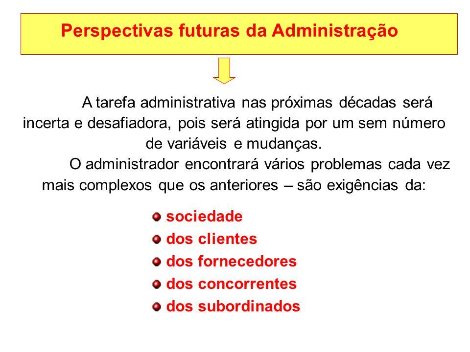 Perspectivas futuras da Administração A tarefa administrativa nas próximas décadas será incerta e desafiadora, pois será atingida por um sem número de