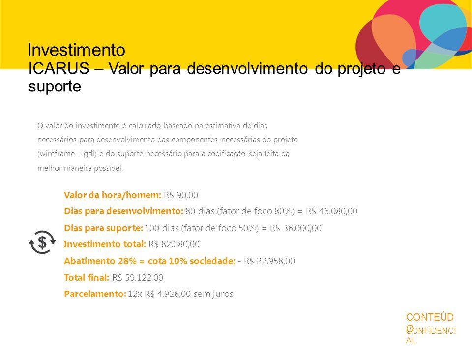 Antes de continuar... CONFIDENCI AL CONTEÚD O Investimento O valor do investimento é calculado baseado na estimativa de dias necessários para desenvol