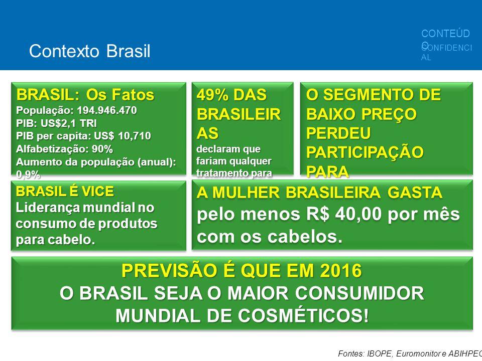 Fontes: IBOPE, Euromonitor e ABIHPEC BRASIL: Os Fatos População: 194.946.470 PIB: US$2,1 TRI PIB per capita: US$ 10,710 Alfabetização: 90% Aumento da