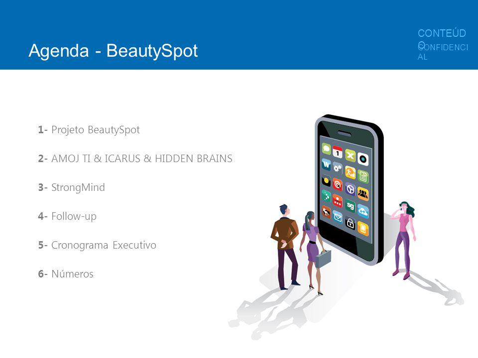 Agenda - BeautySpot 1- Projeto BeautySpot 2- AMOJ TI & ICARUS & HIDDEN BRAINS 3- StrongMind 4- Follow-up 5- Cronograma Executivo 6- Números CONFIDENCI