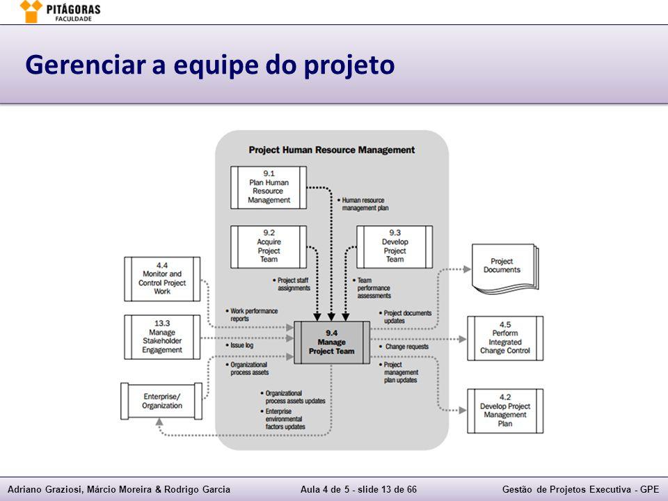 Adriano Graziosi, Márcio Moreira & Rodrigo GarciaAula 4 de 5 - slide 13 de 66Gestão de Projetos Executiva - GPE Gerenciar a equipe do projeto