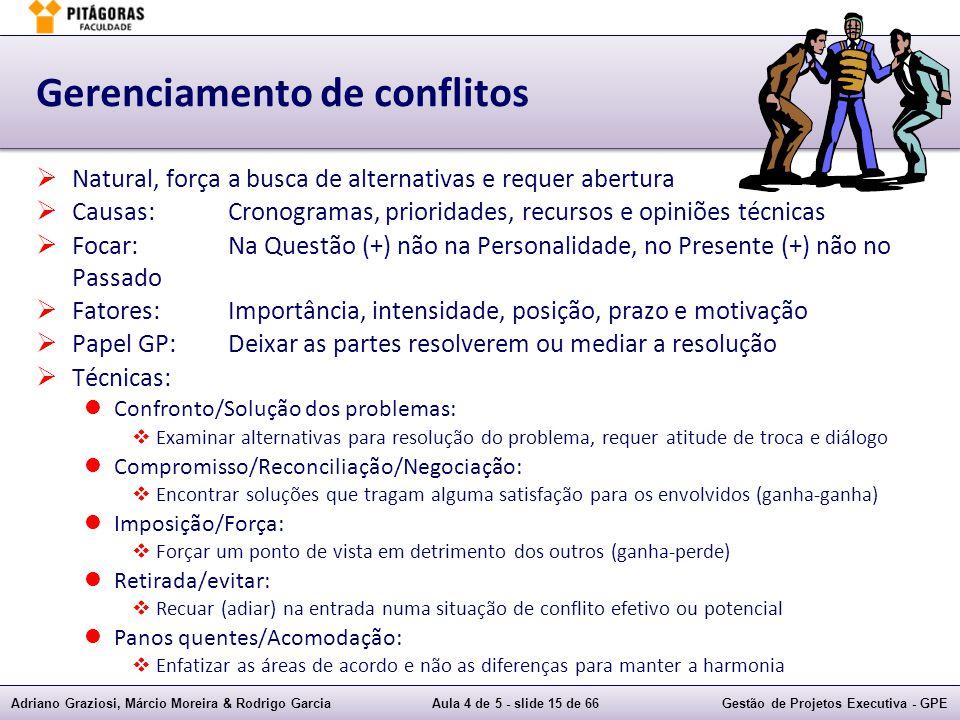 Adriano Graziosi, Márcio Moreira & Rodrigo GarciaAula 4 de 5 - slide 15 de 66Gestão de Projetos Executiva - GPE Gerenciamento de conflitos Natural, fo