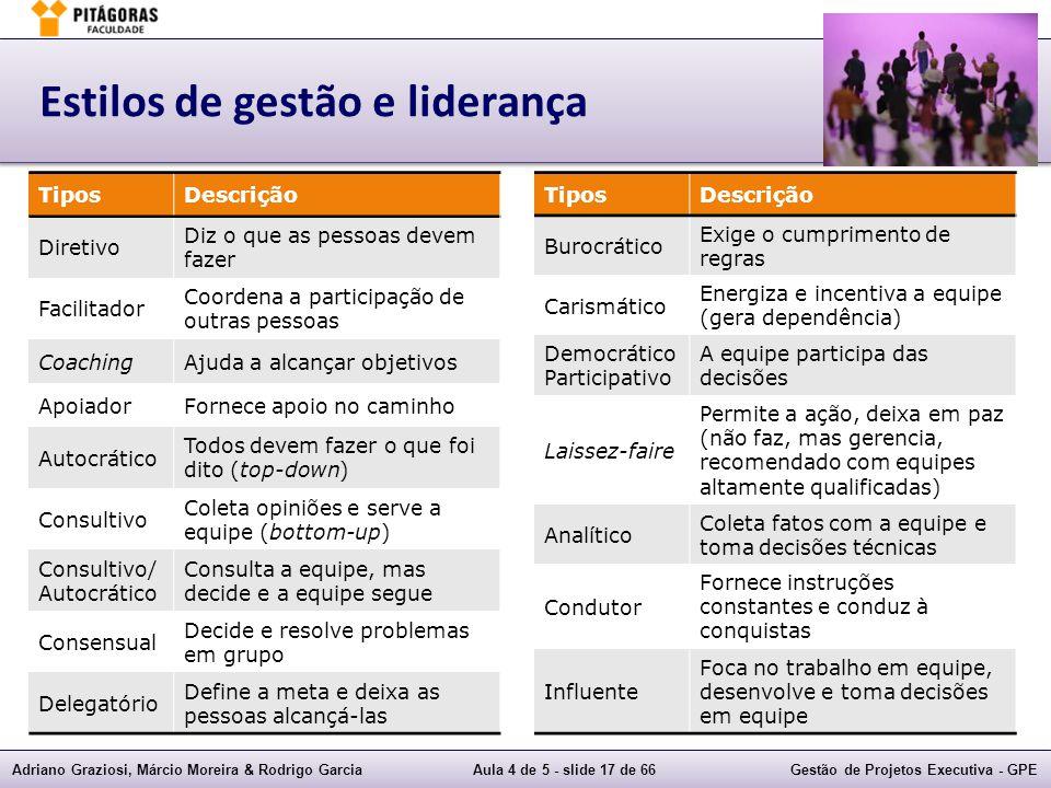 Adriano Graziosi, Márcio Moreira & Rodrigo GarciaAula 4 de 5 - slide 17 de 66Gestão de Projetos Executiva - GPE Estilos de gestão e liderança TiposDes
