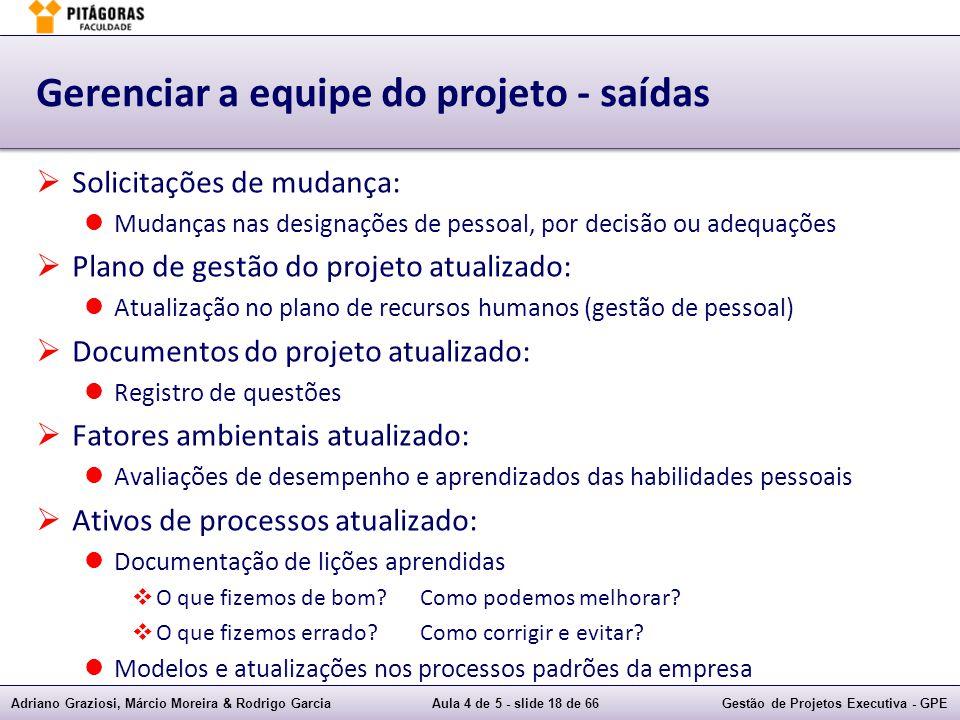 Adriano Graziosi, Márcio Moreira & Rodrigo GarciaAula 4 de 5 - slide 18 de 66Gestão de Projetos Executiva - GPE Gerenciar a equipe do projeto - saídas