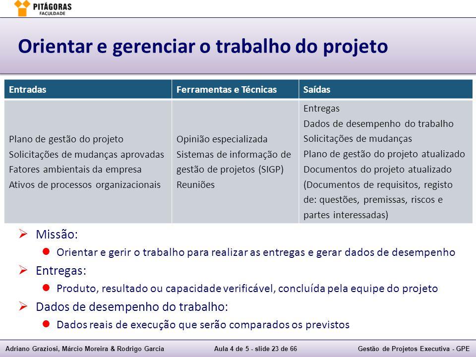 Adriano Graziosi, Márcio Moreira & Rodrigo GarciaAula 4 de 5 - slide 23 de 66Gestão de Projetos Executiva - GPE Orientar e gerenciar o trabalho do pro