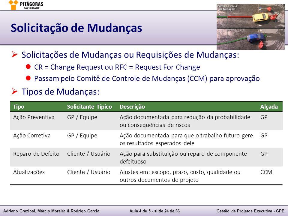 Adriano Graziosi, Márcio Moreira & Rodrigo GarciaAula 4 de 5 - slide 24 de 66Gestão de Projetos Executiva - GPE Solicitação de Mudanças Solicitações d