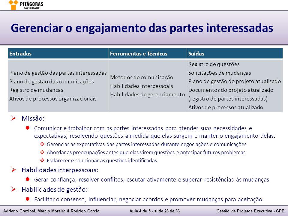Adriano Graziosi, Márcio Moreira & Rodrigo GarciaAula 4 de 5 - slide 28 de 66Gestão de Projetos Executiva - GPE Gerenciar o engajamento das partes int