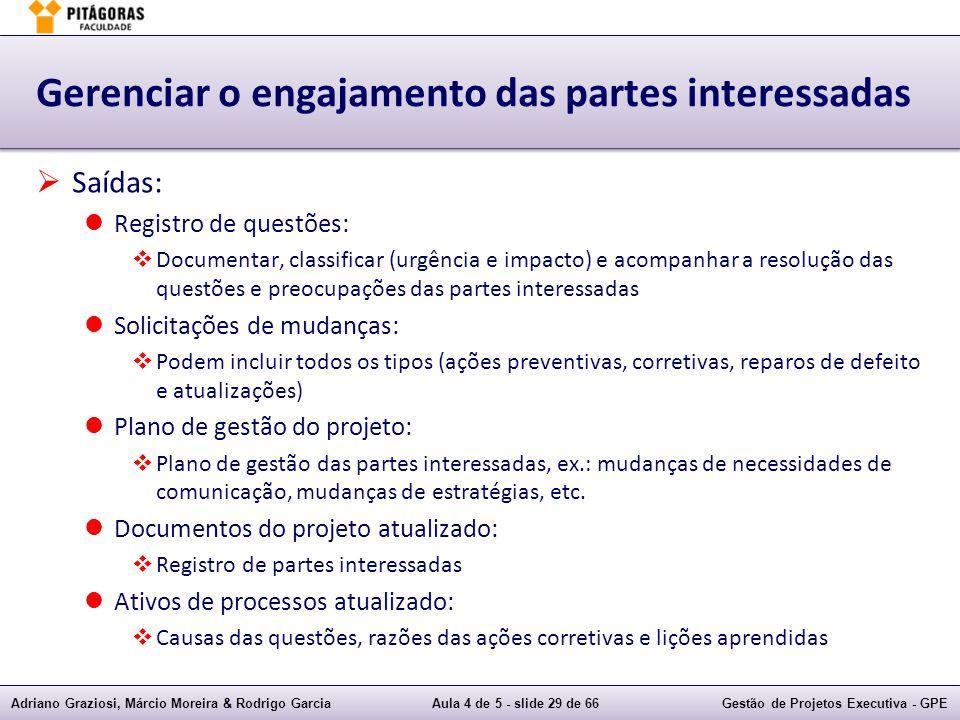Adriano Graziosi, Márcio Moreira & Rodrigo GarciaAula 4 de 5 - slide 29 de 66Gestão de Projetos Executiva - GPE Gerenciar o engajamento das partes int