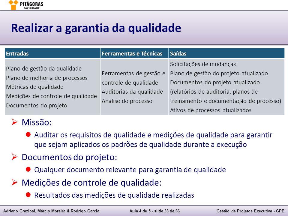 Adriano Graziosi, Márcio Moreira & Rodrigo GarciaAula 4 de 5 - slide 33 de 66Gestão de Projetos Executiva - GPE Realizar a garantia da qualidade Missã