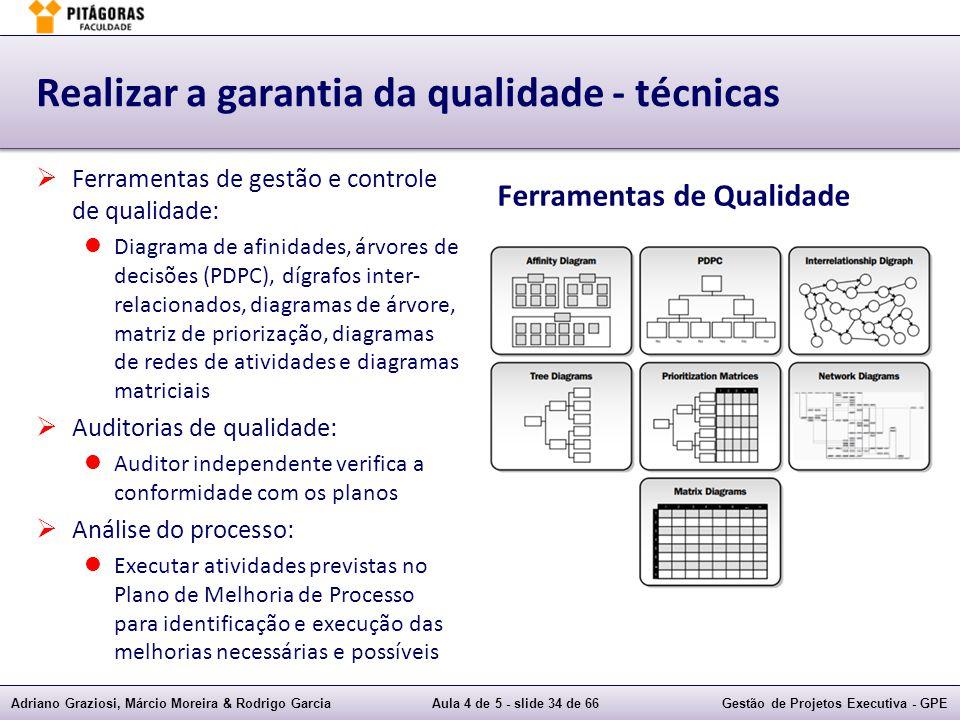 Adriano Graziosi, Márcio Moreira & Rodrigo GarciaAula 4 de 5 - slide 34 de 66Gestão de Projetos Executiva - GPE Realizar a garantia da qualidade - téc
