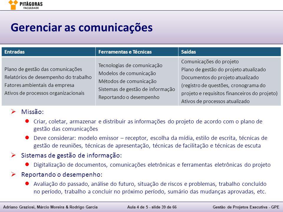 Adriano Graziosi, Márcio Moreira & Rodrigo GarciaAula 4 de 5 - slide 39 de 66Gestão de Projetos Executiva - GPE Gerenciar as comunicações Missão: Cria