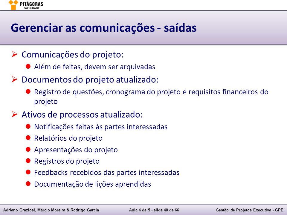 Adriano Graziosi, Márcio Moreira & Rodrigo GarciaAula 4 de 5 - slide 40 de 66Gestão de Projetos Executiva - GPE Gerenciar as comunicações - saídas Com