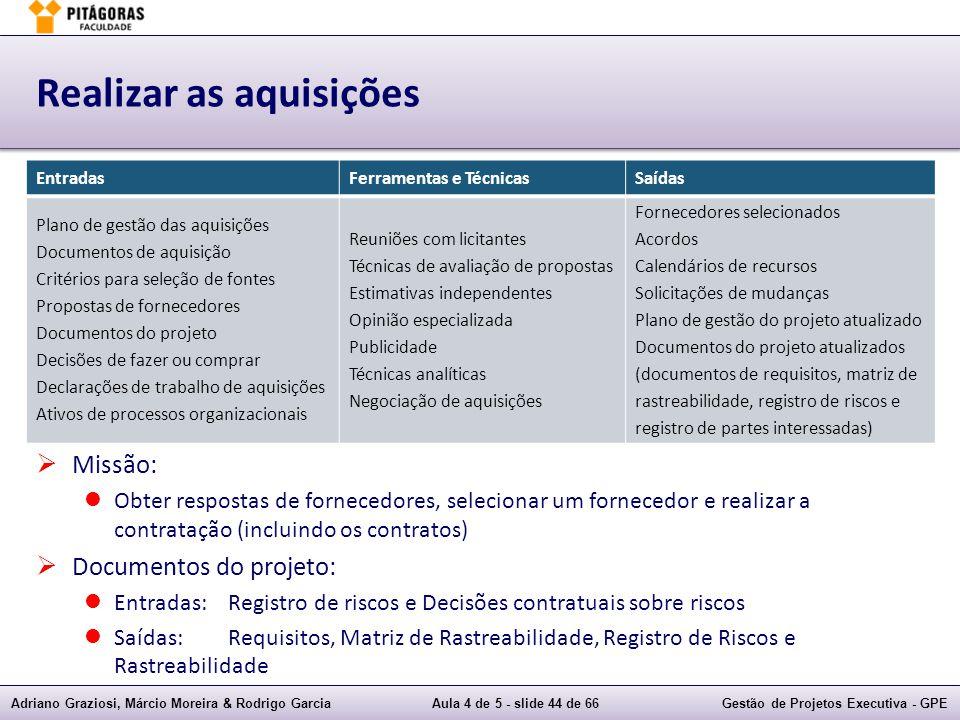 Adriano Graziosi, Márcio Moreira & Rodrigo GarciaAula 4 de 5 - slide 44 de 66Gestão de Projetos Executiva - GPE Realizar as aquisições Missão: Obter r