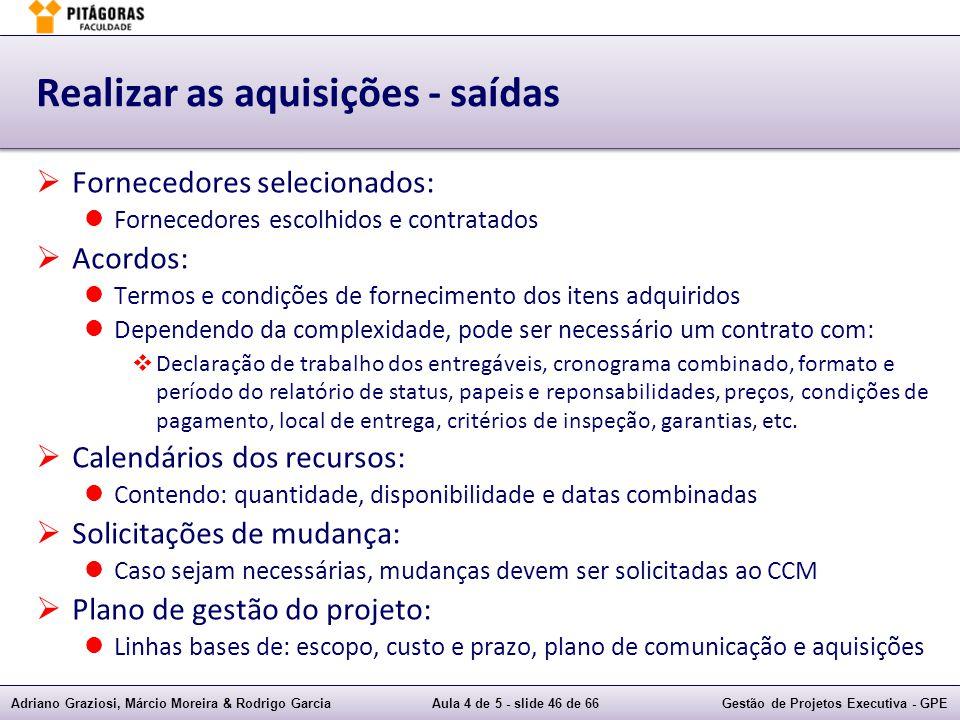 Adriano Graziosi, Márcio Moreira & Rodrigo GarciaAula 4 de 5 - slide 46 de 66Gestão de Projetos Executiva - GPE Realizar as aquisições - saídas Fornec