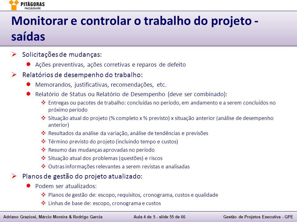 Adriano Graziosi, Márcio Moreira & Rodrigo GarciaAula 4 de 5 - slide 55 de 66Gestão de Projetos Executiva - GPE Monitorar e controlar o trabalho do pr