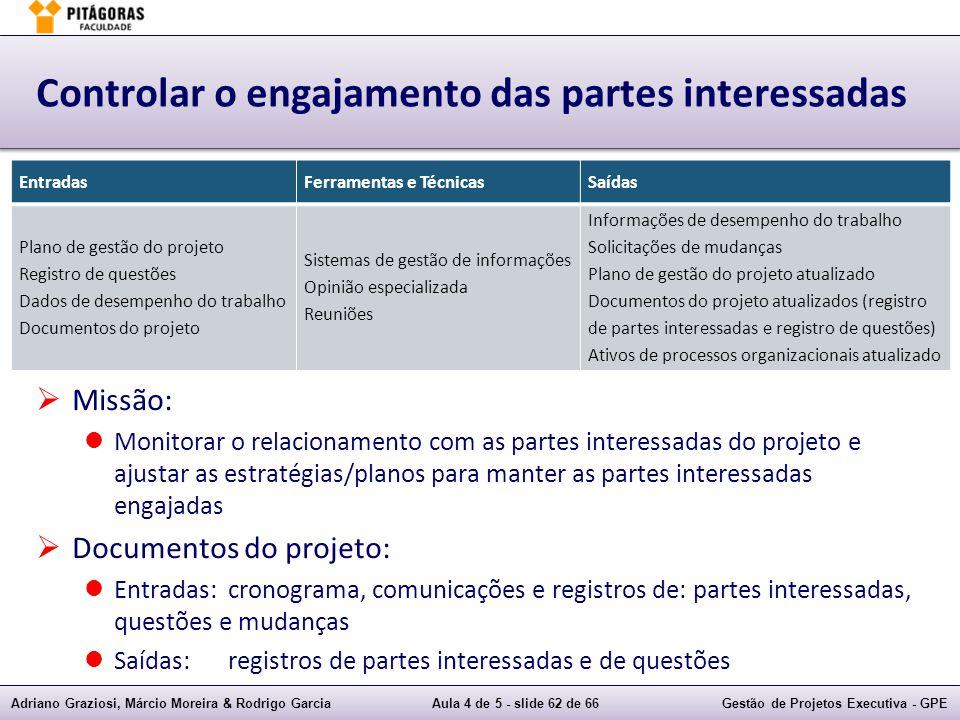 Adriano Graziosi, Márcio Moreira & Rodrigo GarciaAula 4 de 5 - slide 62 de 66Gestão de Projetos Executiva - GPE Controlar o engajamento das partes int