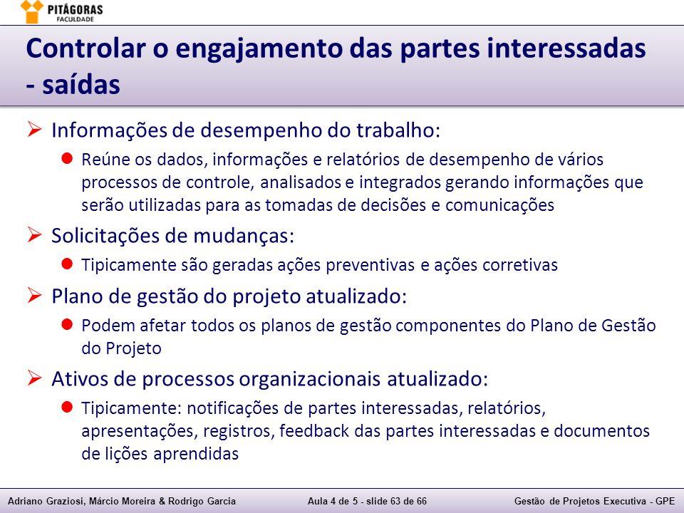 Adriano Graziosi, Márcio Moreira & Rodrigo GarciaAula 4 de 5 - slide 63 de 66Gestão de Projetos Executiva - GPE Controlar o engajamento das partes int