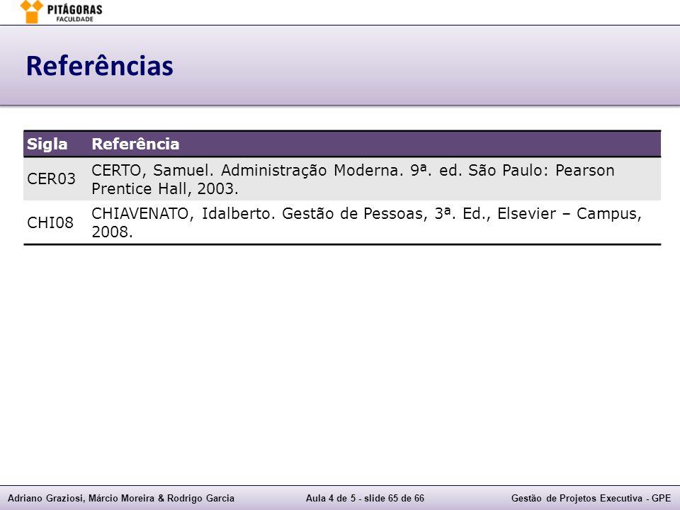 Adriano Graziosi, Márcio Moreira & Rodrigo GarciaAula 4 de 5 - slide 65 de 66Gestão de Projetos Executiva - GPE Referências SiglaReferência CER03 CERTO, Samuel.